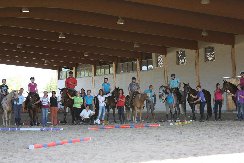 A group photo of horses, riders, and instructors.
