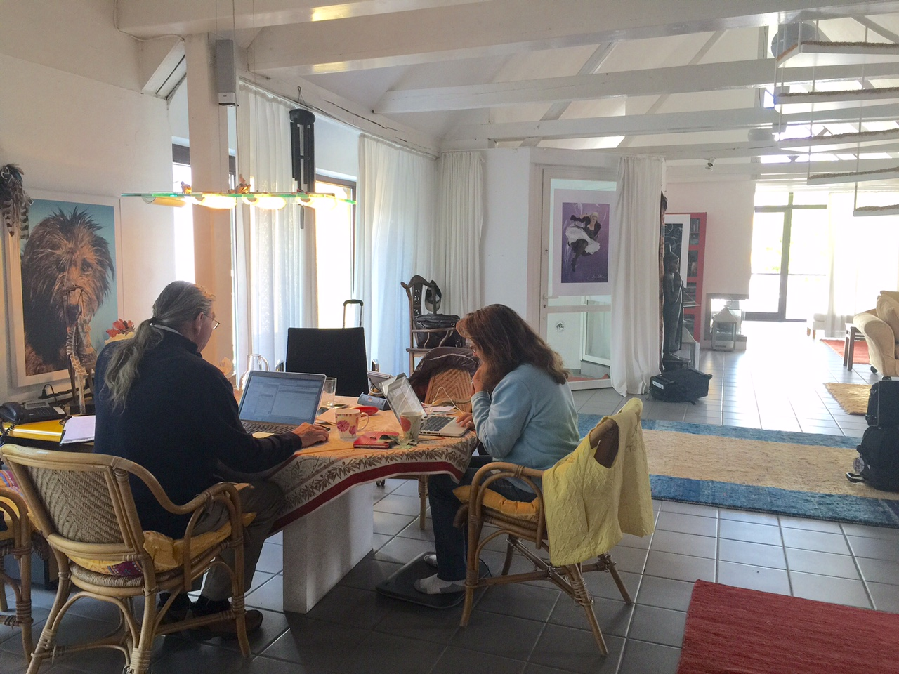 Home away from home Roland's office working with Anke Recktenwald